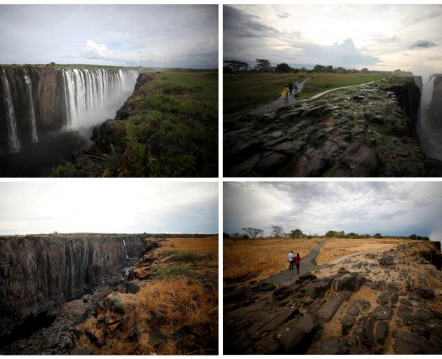 A combination picture shows water flowing (top) and low-water levels after a prolonged drought ...