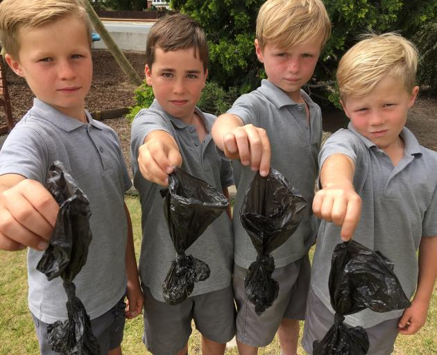 St Gerard's School pupils (from left) Arn Cuthbertson, Freddie Ryan, George Donaldson and Quinn Breen display some of the 45 bags of dog poo they retrieved from under a tree while picking up rubbish off the rail trail yesterday. Photo: Alexia Johnston