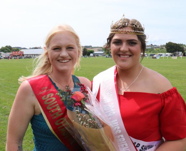 Former South Otago A&P Show Queen Bayley Coates (left) passed her crown to 2019 winner Aleesha...