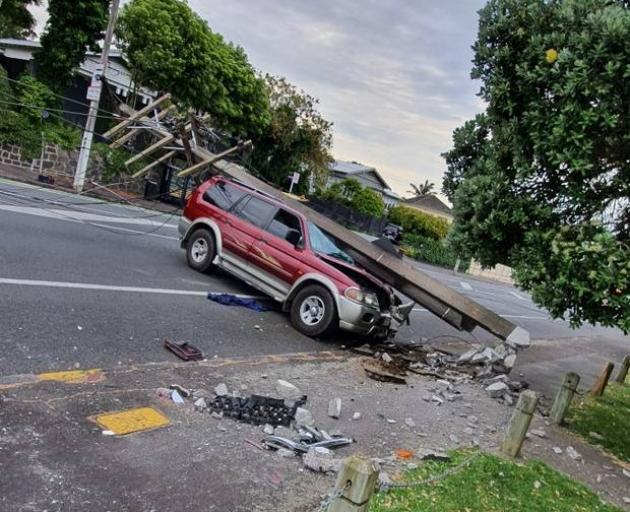 A vehicle has crashed into a powerpole in Sandringham - taking out power to the area. Photo: James Sturch