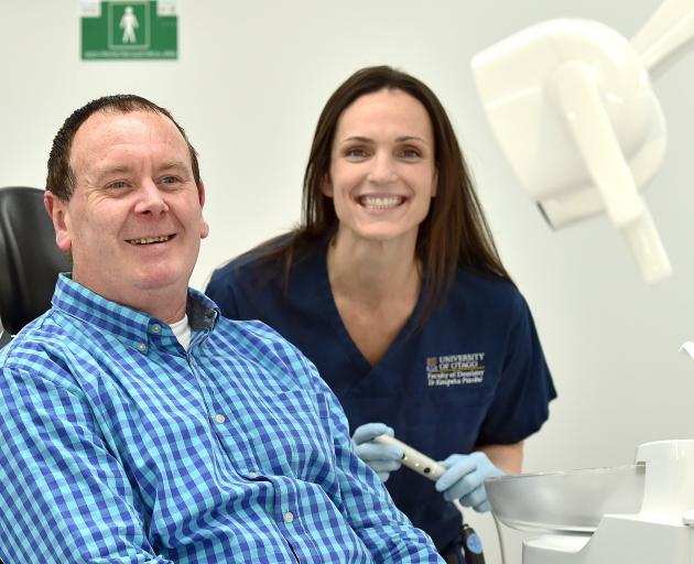Dental patient Brendon Hurring and University of Otago dentistry student Jamie Marra. PHOTO:...