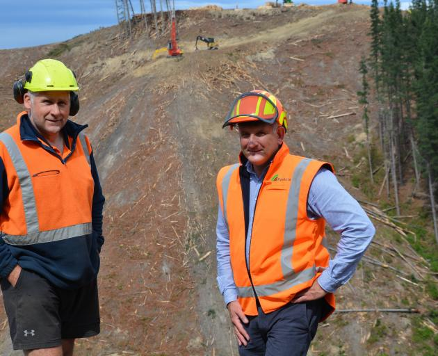 Gamble Forests' Tony Gamble (left) with City Forests' chief executive Grant Dodson at Ferny Hill...
