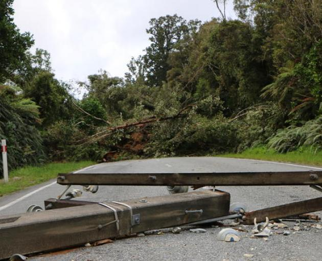 Power lines and a major slip block State Highway 6 at Mt Hercules. Photo: RNZ