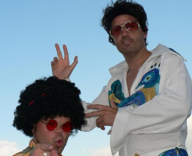 Aaron Keown and Jimmy James Fletcher as Elvis and 'Elfis'.