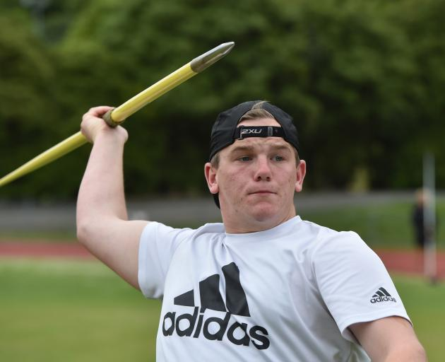 Taieri College javelin thrower Ethan Walker training at the Caledonian Ground yesterday. Photo:...