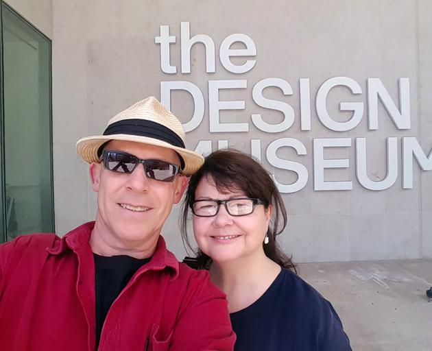 David with his partner Lesley Paris at the Design Museum in London. Photo: Supplied