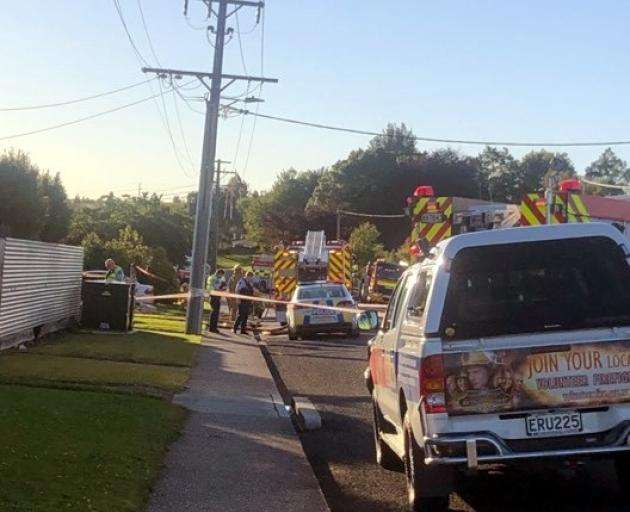 Emergency services at the scene of the incident in Irving St, Gore. Photo: Supplied