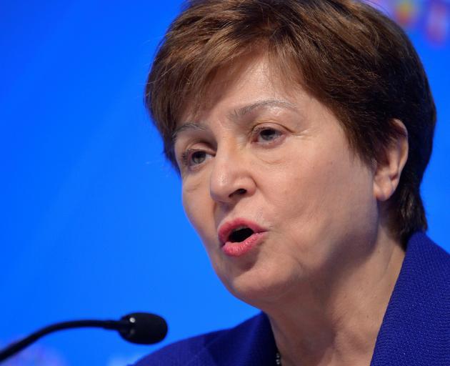 International Monetary Fund managing director Kristalina Georgieva speaks at a meeting of finance...