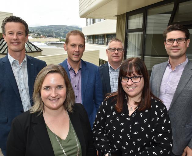 Dunedin City Holdings Ltd's new intern directors of subsidiary and associate companies (from left) Andrew Douglas, Laura Warren, Mark Shirley, Michael Price, Christine McNamara and John Foote. Photo: Gregor Richardson
