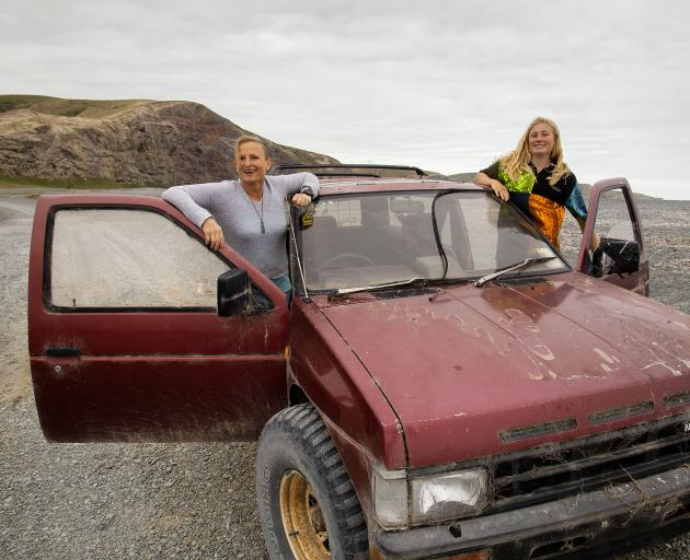Jan and Bree Daffin pull out vehicles which get stuck in the shingle at Birdlings Flat using a...