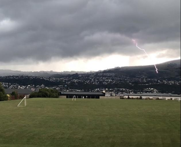 Conor Casey (13) captured a lightning strike over Dunedin from Rotary Park Close, in Shiel Hill,...