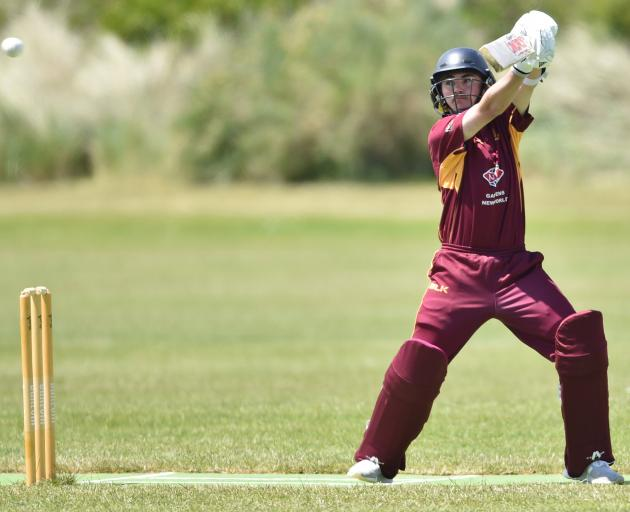 North East Valley batsmanNic Brosnahan plays a shot during a premier club game against Carisbrook...
