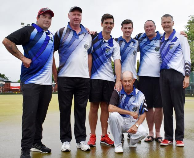 Celebrating after their win yesterday are Kaikorai Bowling Club men's sevens team members (from...
