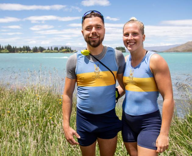 Juliette Alm-Lequeux with her French boyfriend, Nicolas Cestari, at the Otago Rowing Championships at Lake Ruataniwha at the weekend. Photo: Sharron Bennett