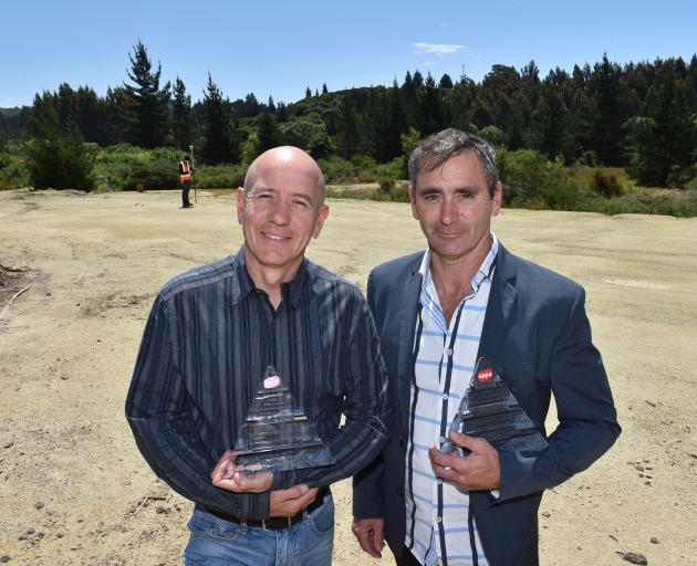 Tuapeka Gold Print shareholder Brad Houghton (left) and chief executive officer Greg Jolly hold...