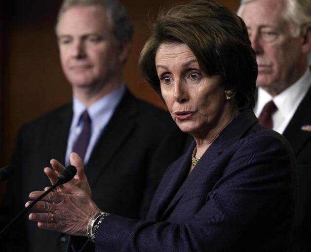 """US House Minority Leader Nancy Pelosi speaks to the media on the """"fiscal cliff"""" on Capitol Hill..."""