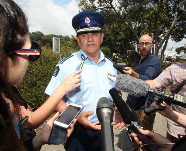 Deputy Police Commissioner Wally Haumaha speaks to media outside Mataatua Marae in Whakatāne....