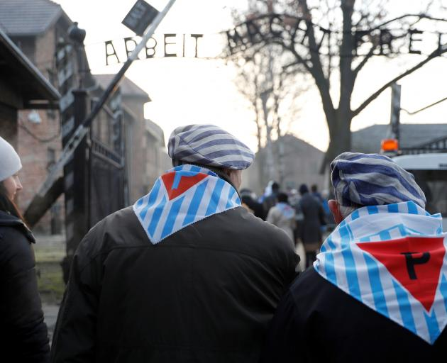 Survivors of Auschwitz arrive to attend ceremonies marking the 75th anniversary of the liberation...