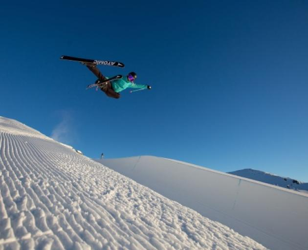 Ruby Andrews performing tricks on her home mountain, Cardrona. Photo: Tommy Pyatt
