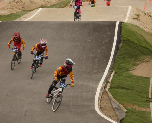 Southland riders keeping close to each other during a race in the 8-10 girls' category of the...