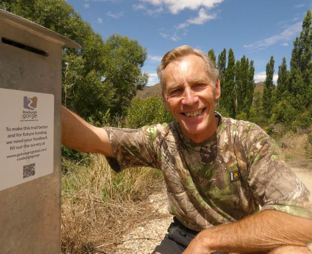 Barrie Wills, a director of Central Otago Clutha Trails, is calling for people to complete a survey after using the Roxburgh Gorge Trail, to ensure funding can be applied for. Photo: Alexia Johnston