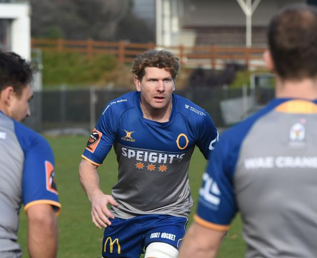 Former All Black loose forward Adam Thomson at training at Logan Park yesterday. Photo: Gregor...