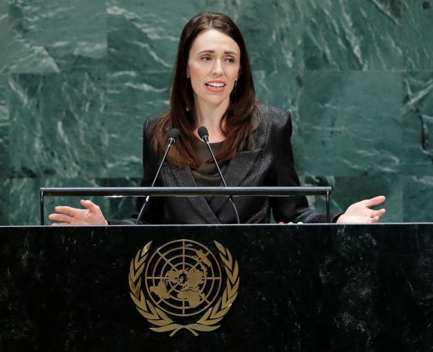 Prime Minister Jacinda Adern addresses the United Nations. Photo: Reuters