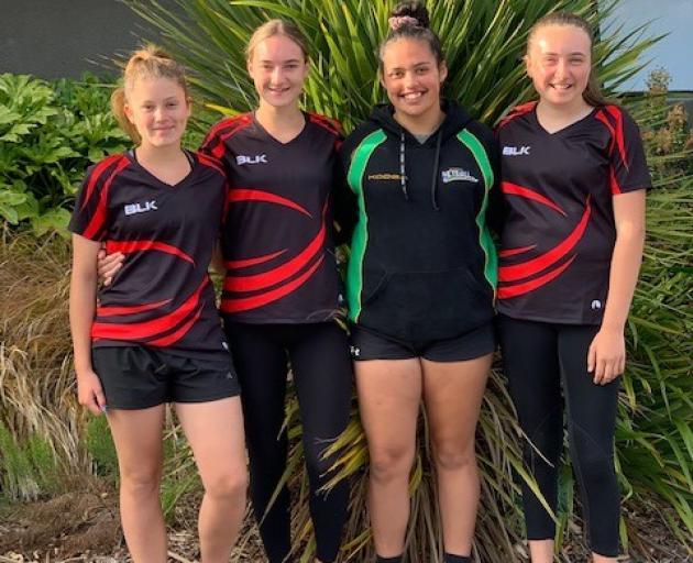 Mid Canterbury netballers (from left) Ashlein Lyttle, Jasmin Strawbridge, Hayley Tallentire and...