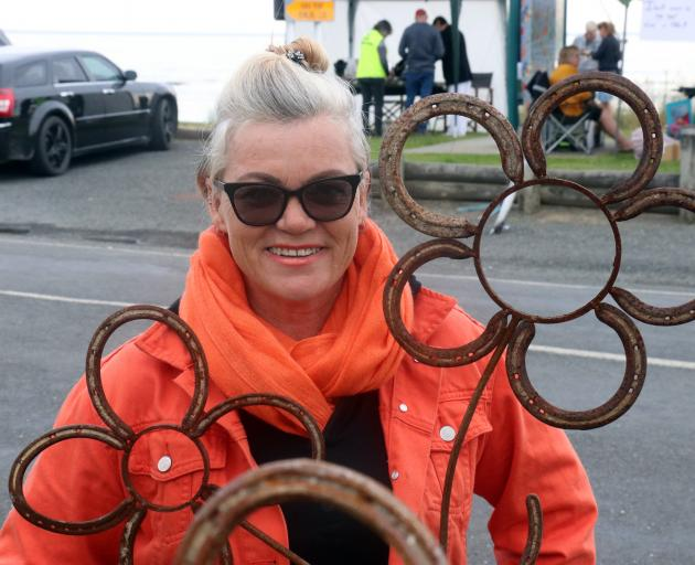 Kaka Point Beach Market Day stallholder Sarah Gillies, of Milton, with some of her creations....