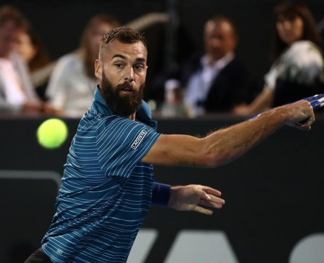 Benoit Paire plays a backhand during his quarterfinal win at the ASB Classic. Photo: Getty Images