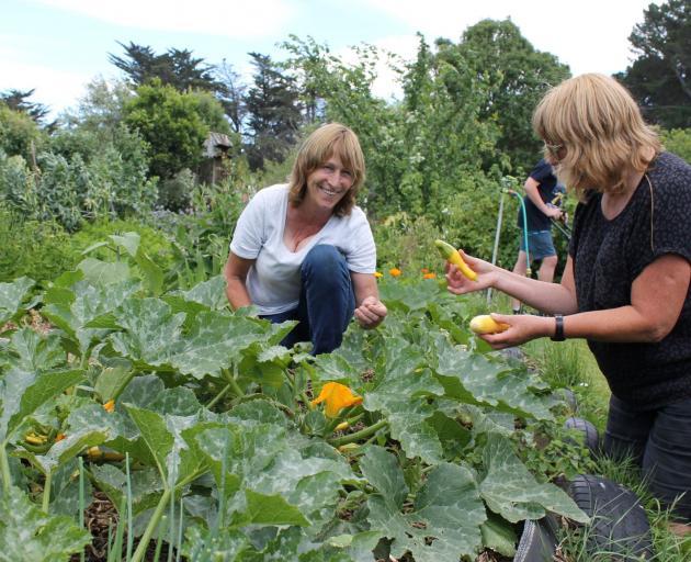 New Brighton Community Garden volunteers Catherine O'Neill and Haidee Meni LoRes. Photo: Supplied