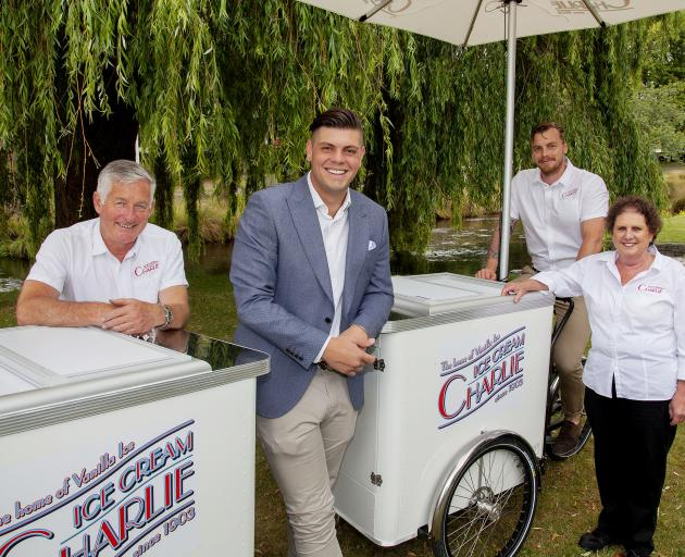 Ice Cream Charlie's Ross Sheppard, Tim McIsaac, Lenny Lennard and Chrissy West with the company's...
