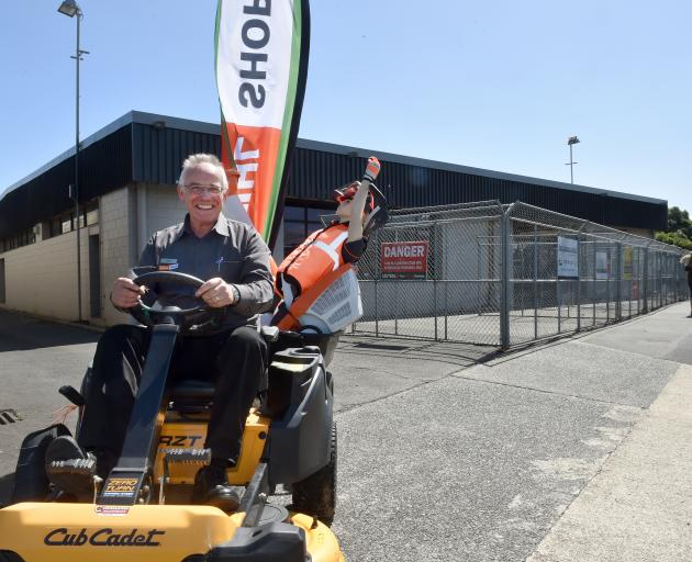 Stihl franchise owner Dave Campbell moves stock to his new shop nearby. Photo: Stephen Jaquiery