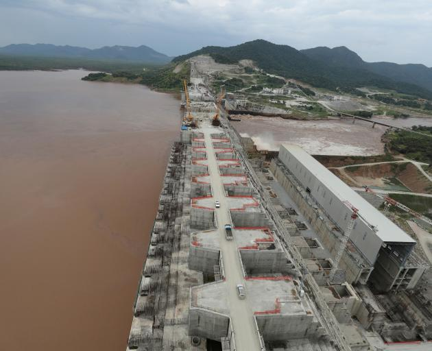 Construction work of Ethiopia's Grand Renaissance Dam on the river Nile last September. PHOTO:...