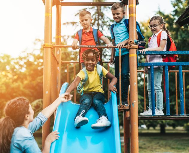 In a New Zealand Curriculum setting, playground swings and slides are tools to help curious...