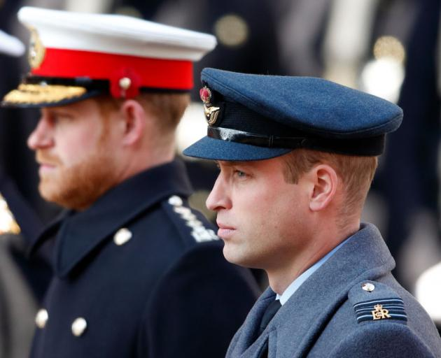 Prince Harry, Duke of Sussex and Prince William, Duke of Cambridge attend the annual Remembrance...