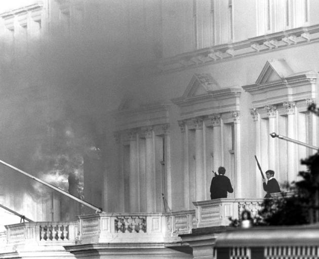 Armed police on the adjoining balcony to the Iranian Embassy, when units of the Special Air...