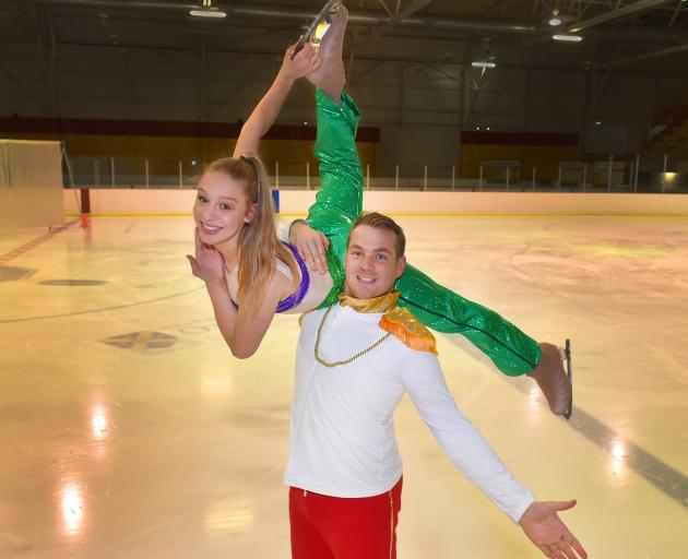 Grant Howie hoists Zara Anthony-Whigham while preparing for the Mermaid's Tale show at the Dunedin Ice Stadium in 2017. Photo: Gregor Richardson