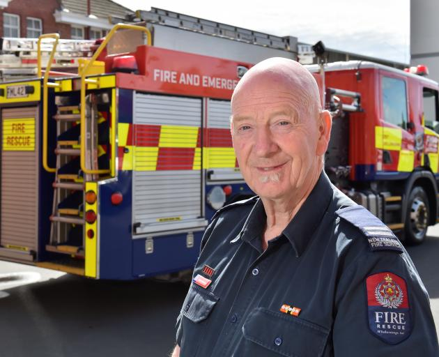 Dunedin City Fire Station Senior Firefighter Bevan Moreton celebrated his 50th year as a career...