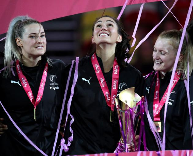 New Zealand's Ameliaranne Ekenasio celebrates with team mates after winning the Vitality Netball Nations Cup gold medal match at The Copper Box, London. Photo: Getty Images
