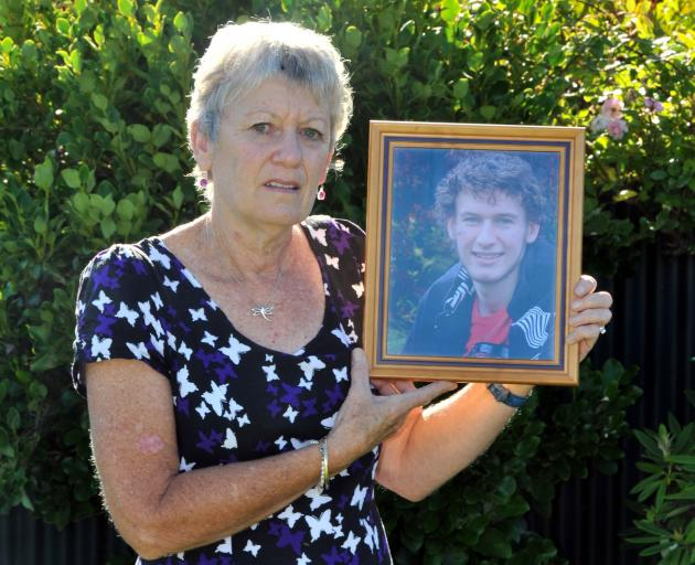 Ngairena Hibbs (nee Hartman) holds a photo of her son Todd Campbell. Photo: ODT files