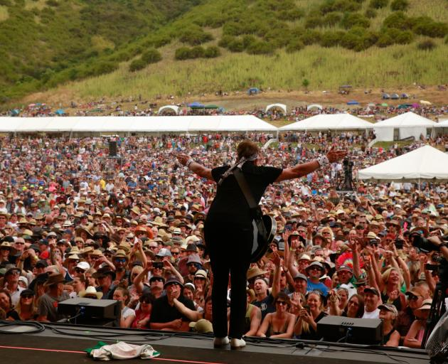 George Thorogood revs up the 18,000-strong crowd during the Gibbston Valley winery Summer Concert...