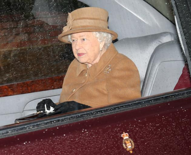 Britain's Queen Elizabeth departs from St Mary Magdalene's church on the Sandringham estate in...