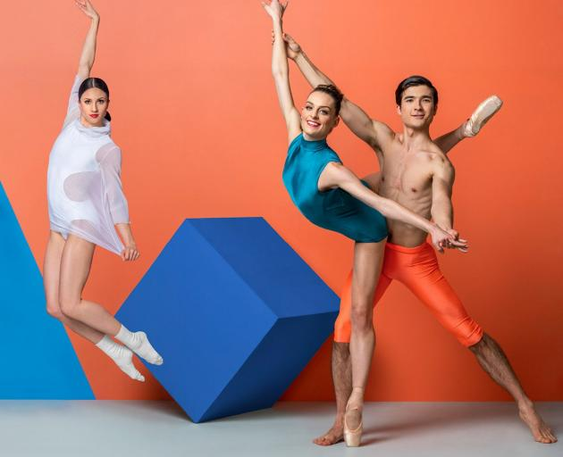 The Royal New Zealand Ballet's soloist Sara Garbowski and dancers Kirby Selchow (left) and...