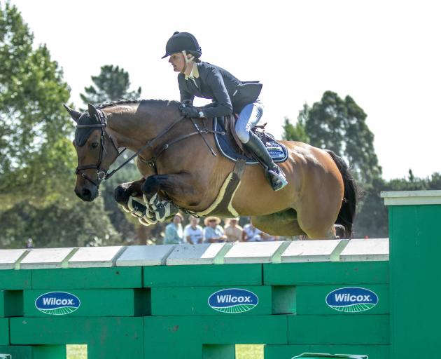Tegan Fitzsimon and her horse Windermere Cappuccino at the FEI New Zealand World Cup event. Photo...