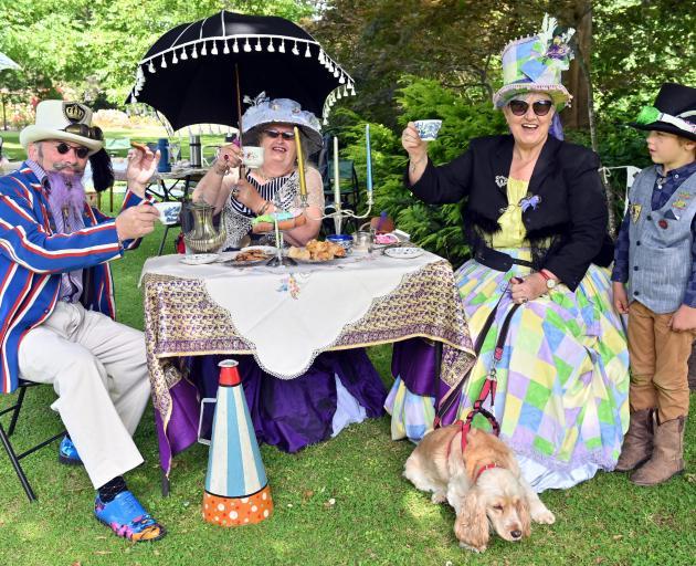 Enjoying the Dunedin Steampunk Society high tea at the Dunedin Botanic Garden yesterday are (from...