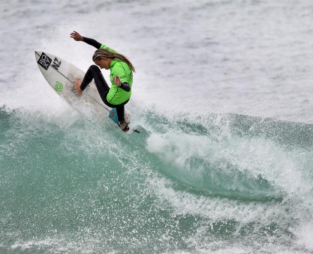 Teenager Ava Henderson (Christchurch) on the way to winning the open women's title. PHOTOS:...