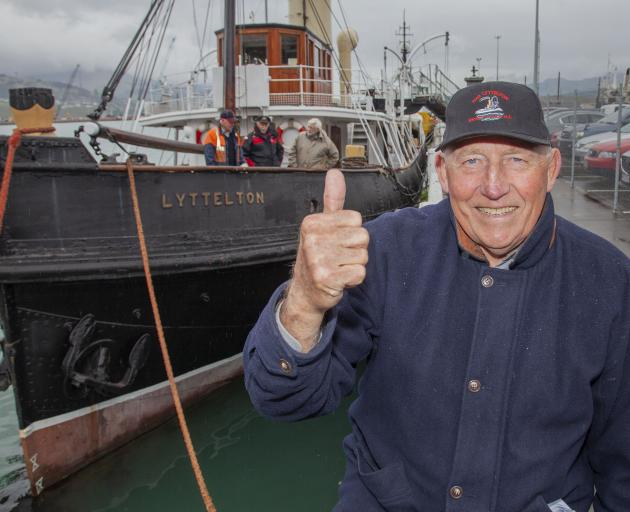 Roger Ellery in front of Lyttelton's 112-year-old tugboat which is back in action. Photo: Geoff...