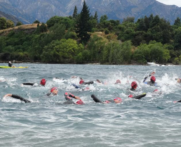 Swimmers head for Ruby Island on the 2.5km swim on Saturday. PHOTOS: MARK PRICE