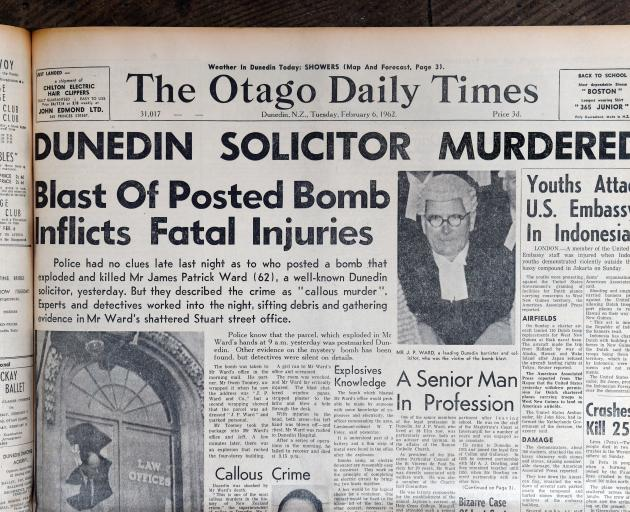 The bombing hit the headlines on February 6, 1962, leading the Otago Daily Times for several days. PHOTO: STAFF PHOTOGRAPHER